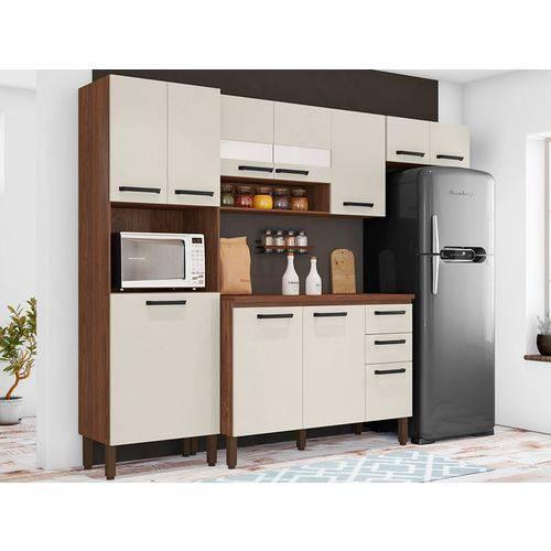 Cozinha Turim – 4 peças – Nogueira/Off White - Kit's Paraná