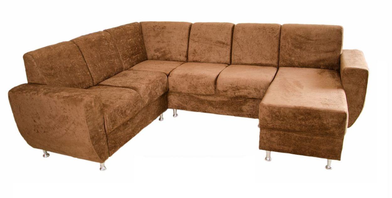 Sofá de Canto Niteroi - 1,95m x 2,55m - Com Pés Cromados -  Tecido Suede