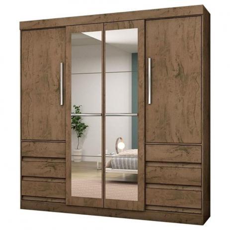 Guada Roupa Casal 1577 4 Portas e 6 Gavetas com Espelho - Araplac