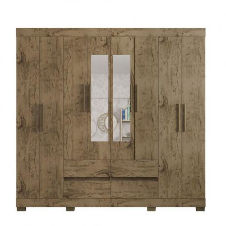 Guarda Roupa 2084  Casal 8 Portas e 4 Gavetas com Espelho cor Demolição - Araplac
