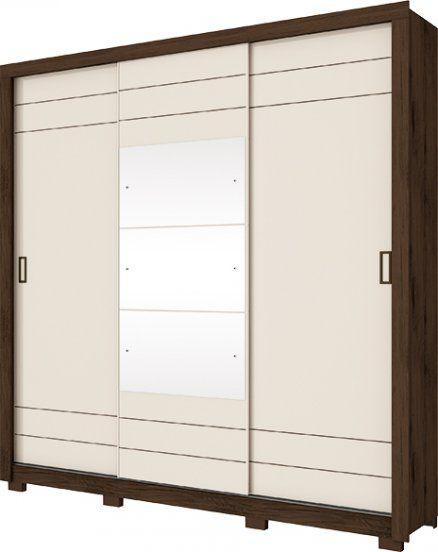 Guarda Roupa Casal 3 Espelho 3 Portas de Correr Avenida Café com Off White  - Henn