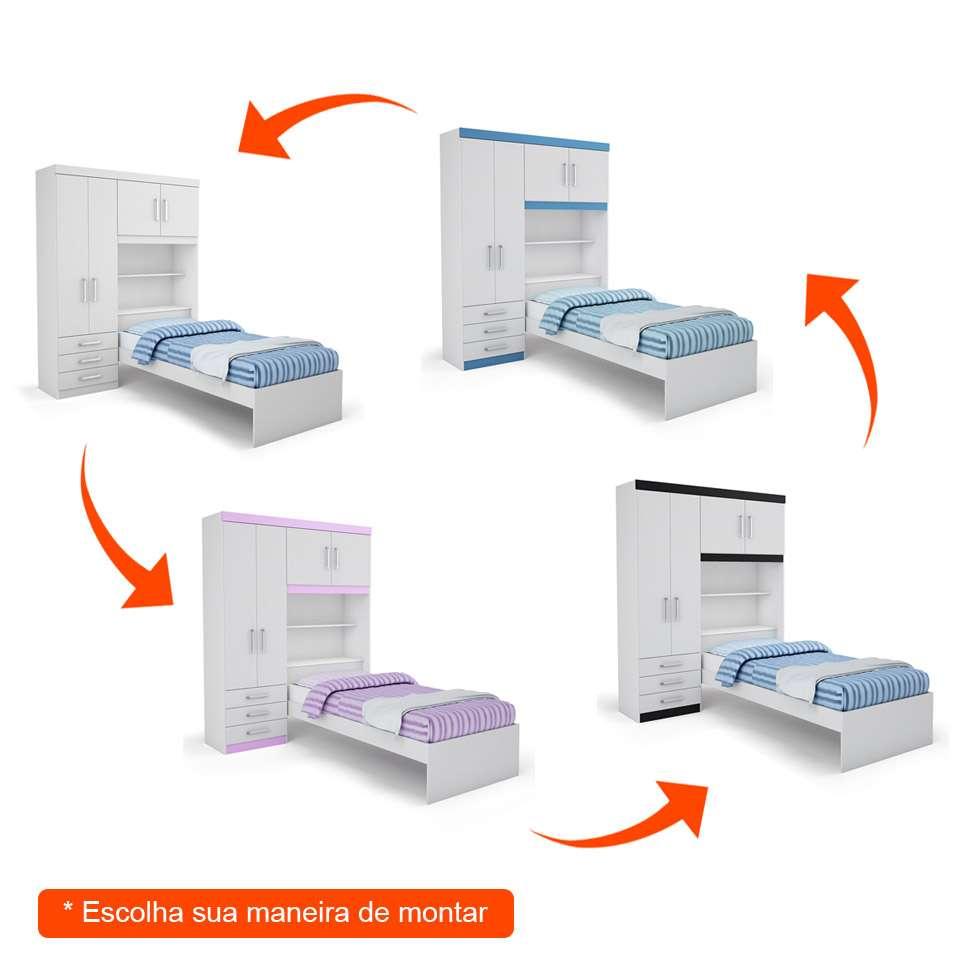 Guarda-Roupa Infantil Flex Color com Cama Turim 4 Portas e 3 Gavetas - Batrol