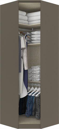 Guarda Roupa Modulado Para Closet Canto Oblíquo 1 Porta com Espelho Diamante Henn