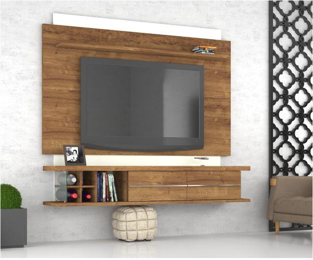 """Home Suspenso Prime Para Tv até 60"""" com Prateleira e Vidro - Mira Rack"""