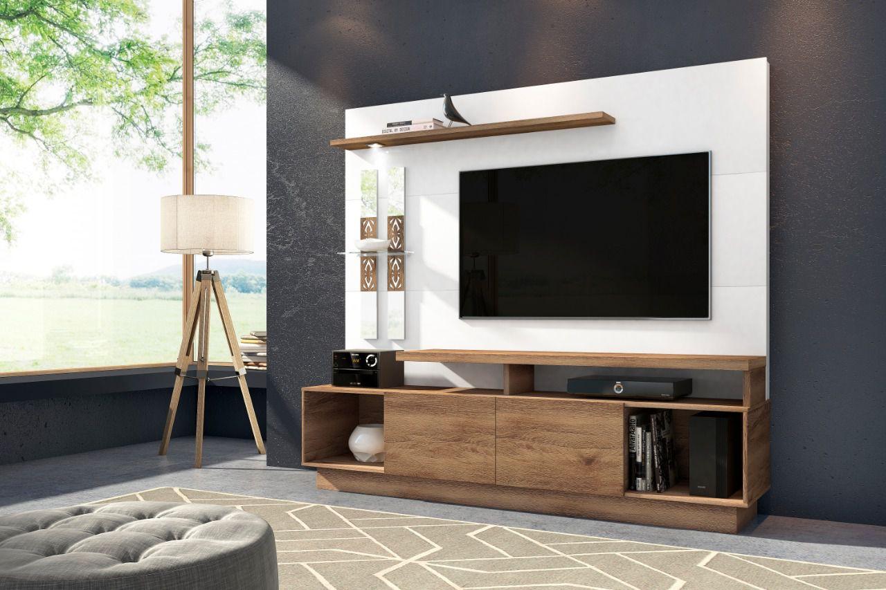"""Home Theater Vision Para Tv até 60"""" 2 Portas Deslizantes com Prateleira de Vidro e Luminaria Led - Frade"""