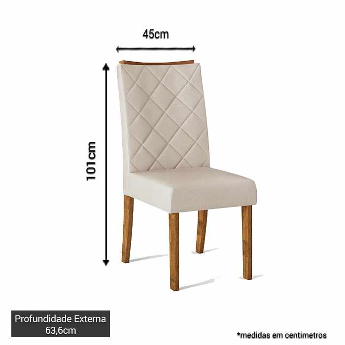 Kit 2 Cadeiras Golden Estofadas Tecido Pena Bege Claro - DJ Móveis