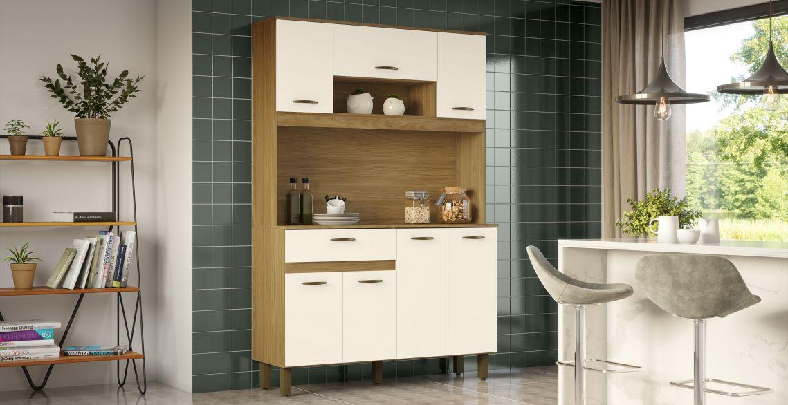 Kit Cozinha Compacta 1,20m Briz 7 Portas 1 Gaveta  - Henn B114