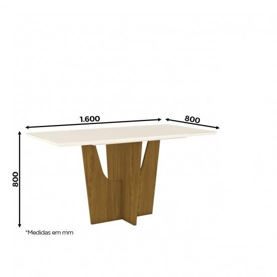 Mesa de Jantar com Tampo de Vidro 160cm Vértice - Henn
