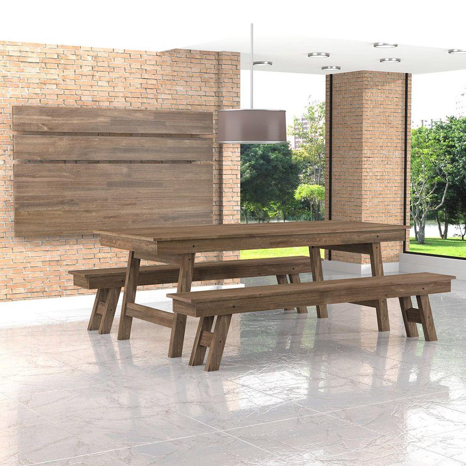 Mesa para Churrasco Dobrável + 2 Bancos Dobráveis - Meneghetti