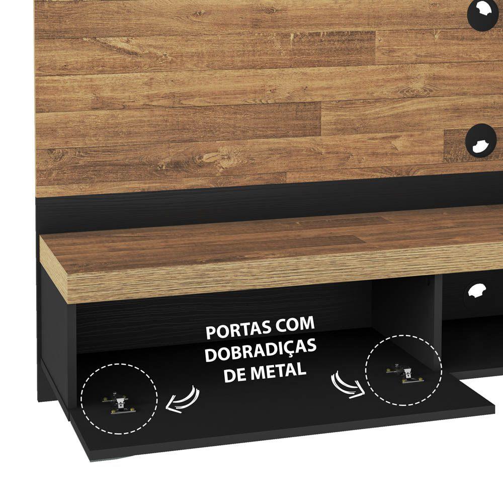 Painel Mônaco para TV 65 Polegadas Com Espelho 2 Portas 1 Nicho - Artely