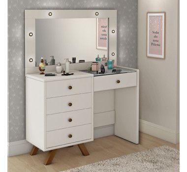 Penteadeira Camarim com LED e Espelhos 5 Gavetas e Colméia Branco com Off White - Pelaio Móveis