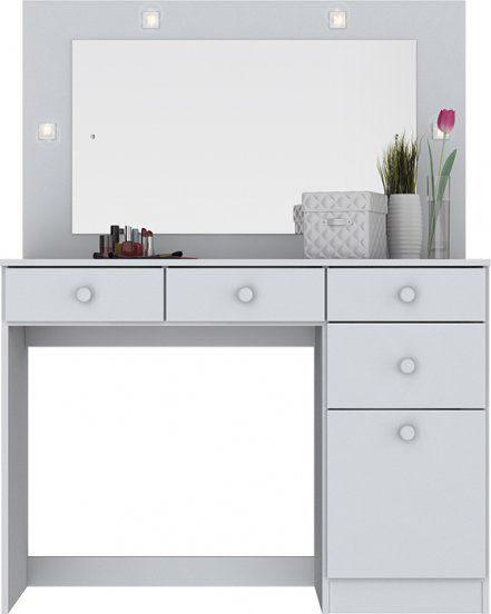 Penteadeira com Espelho e LED 1 Porta 4 Gavetas Chanel Branco  - Henn