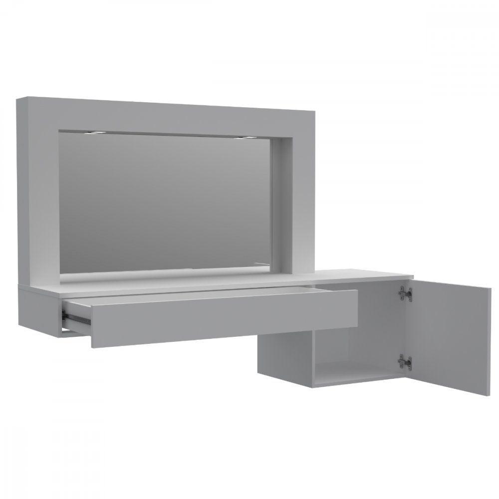 Penteadeira Suspensa 1 Gaveta 1 Porta com Led  e Espelho Gloss - Belaflex.