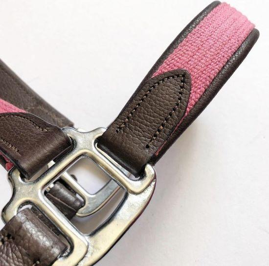 Cabresto de Couro Colors Tack Pro - Marrom/Rosa