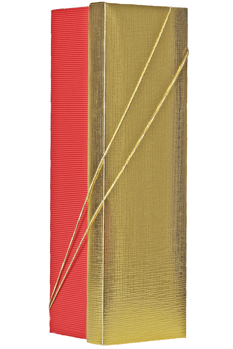 Caixa dourada e vermelha