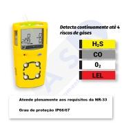 Detector de 4 gases - Gasalert Microclip XL -  Calibração Rastreavel /INMETRO
