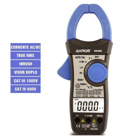 KR300 Alicate Amperímetro de AC/DC TRUE RMS com visor duplo