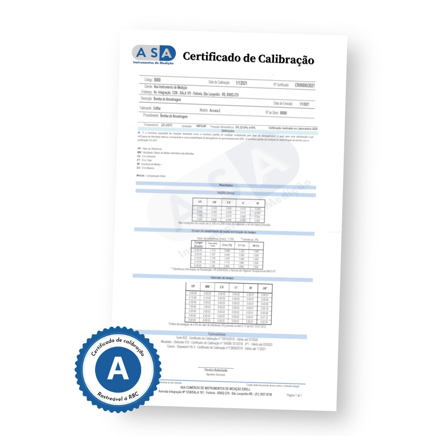 Calibração com rastreabilidade RBC/INMETRO - Detector de 4 Gases
