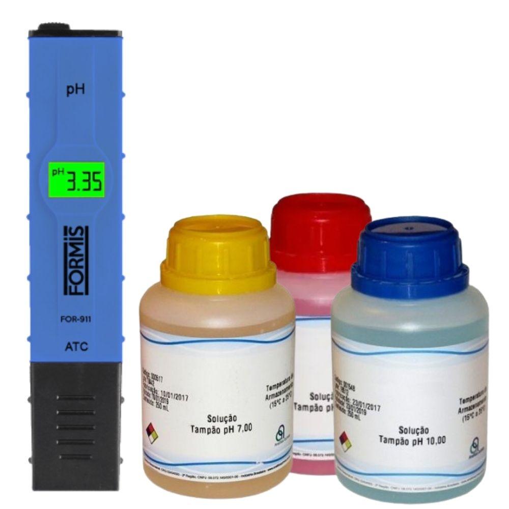 KIT Medidor de pH FOR-911 com soluções 250ml | PH 4/7/10