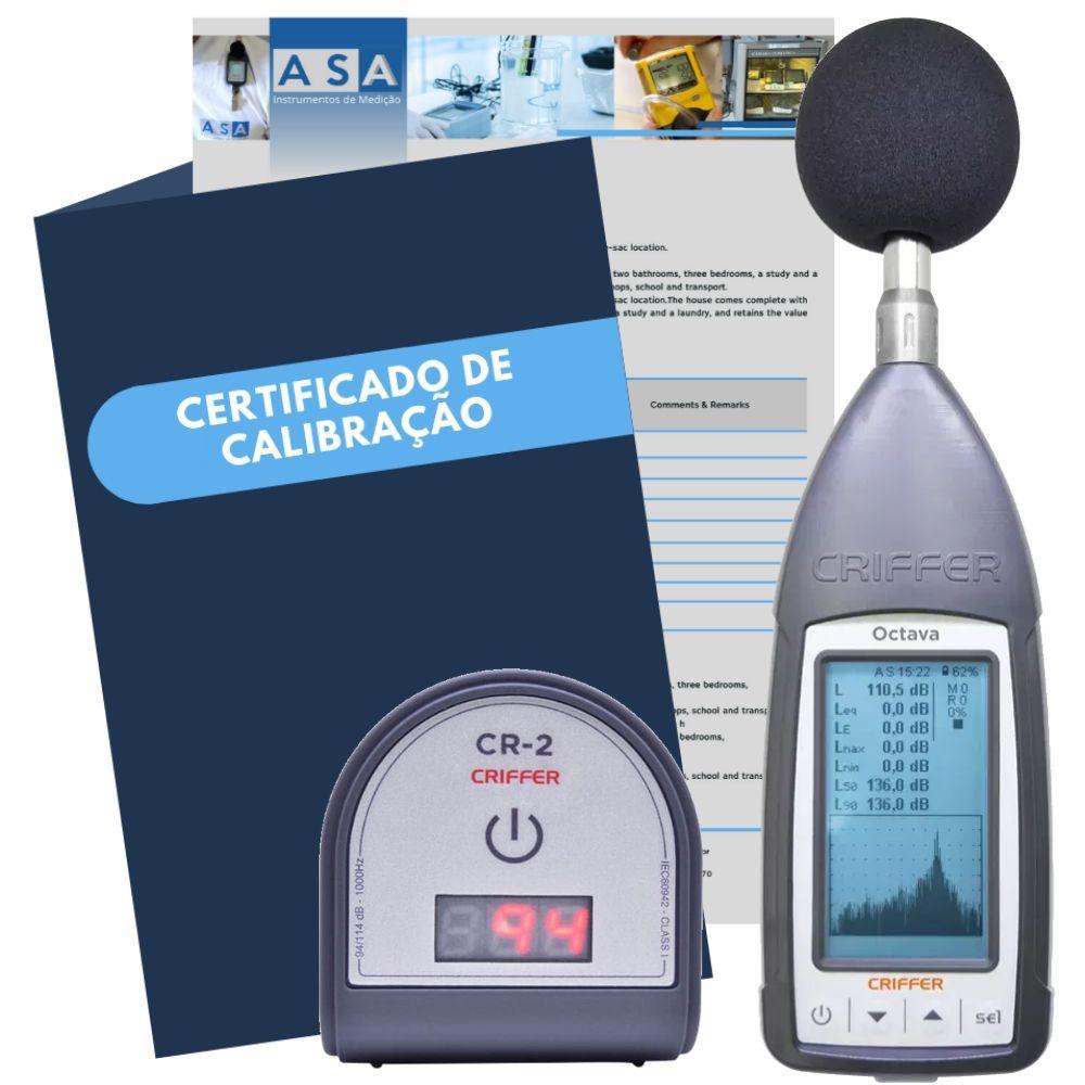 Kit Octava Medidor de nível sonoro digital com CR-2 Calibrador de ruído digital + Certificado de calibração