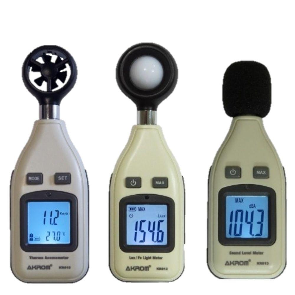 KR812 Luxímetro + KR813 Decibelímetro + KR815 Termo Anemômetro