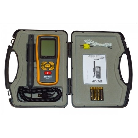 KR861 Medidor de temperatura e umidade com sonda externa e entrada para termopar