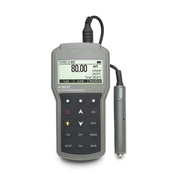 Medidor portátil impermeável de EC/Resistividade/TDS/NaCl - HI98192
