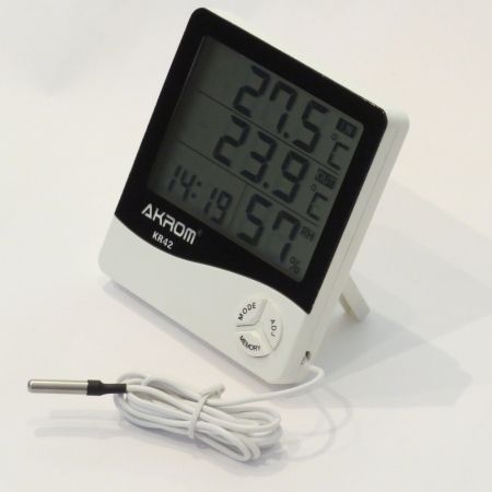 KR42 Termo higrômetro digital com sensor externo e relógio