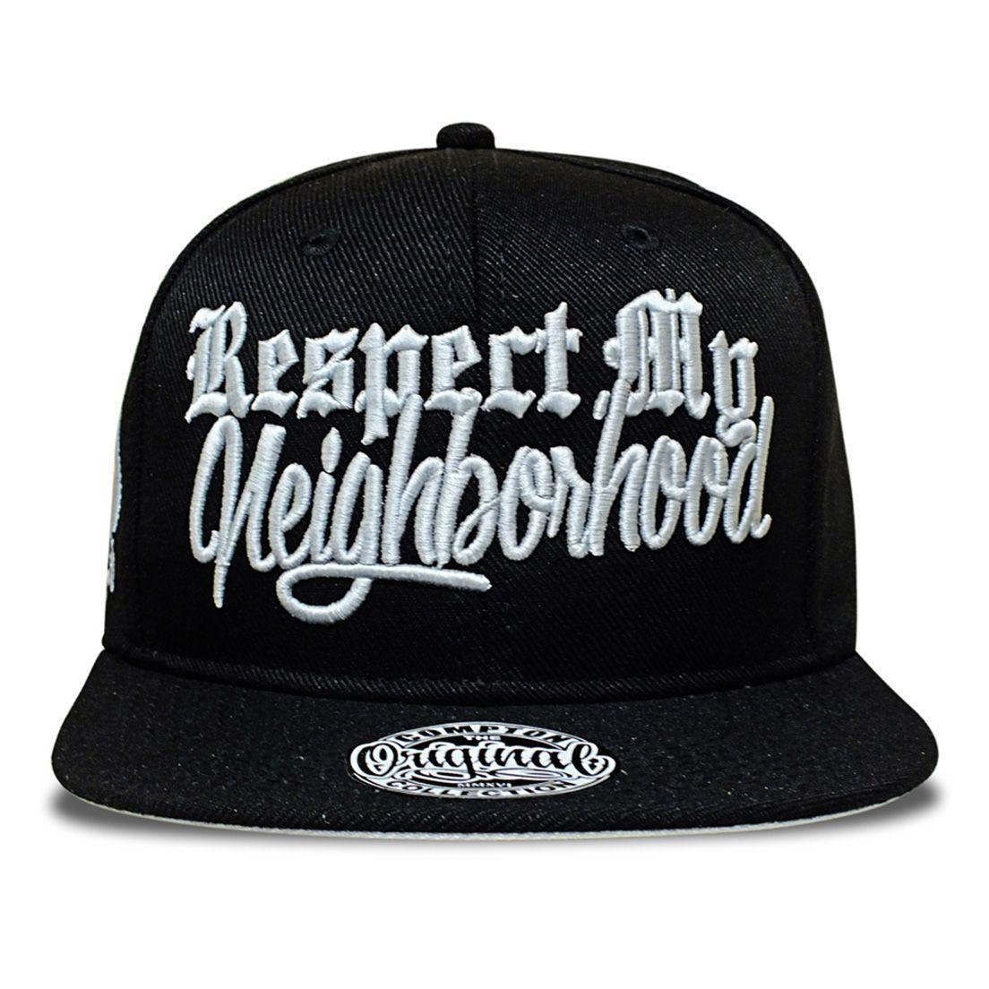 Boné Aba Reta Snapback Respect My Neighborhood Preto Compton