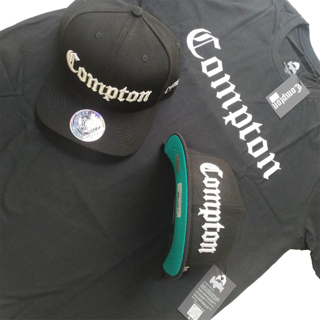 Camiseta Compton + Boné Aba Reta Preto