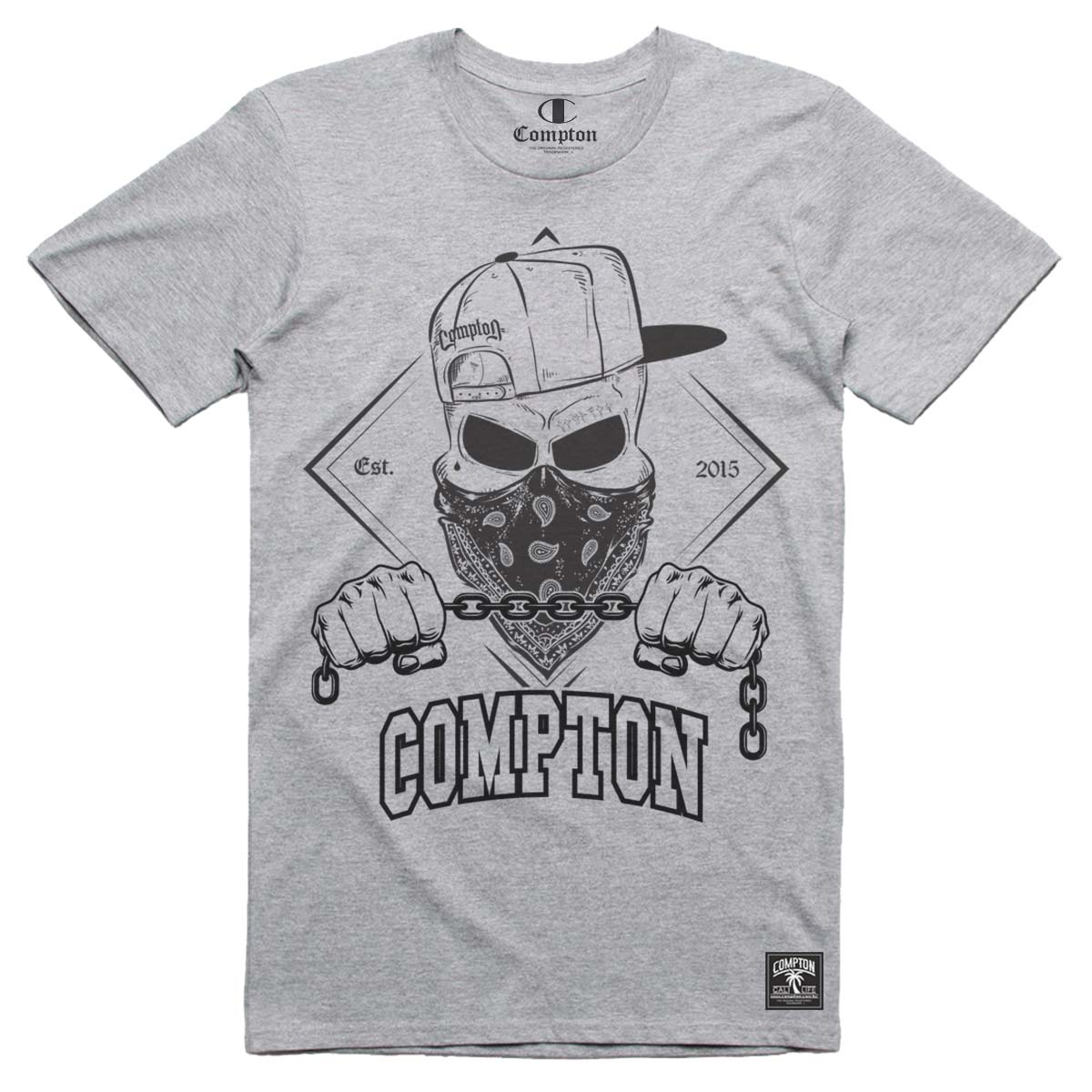 Camiseta Compton Skull Bandana Cinza