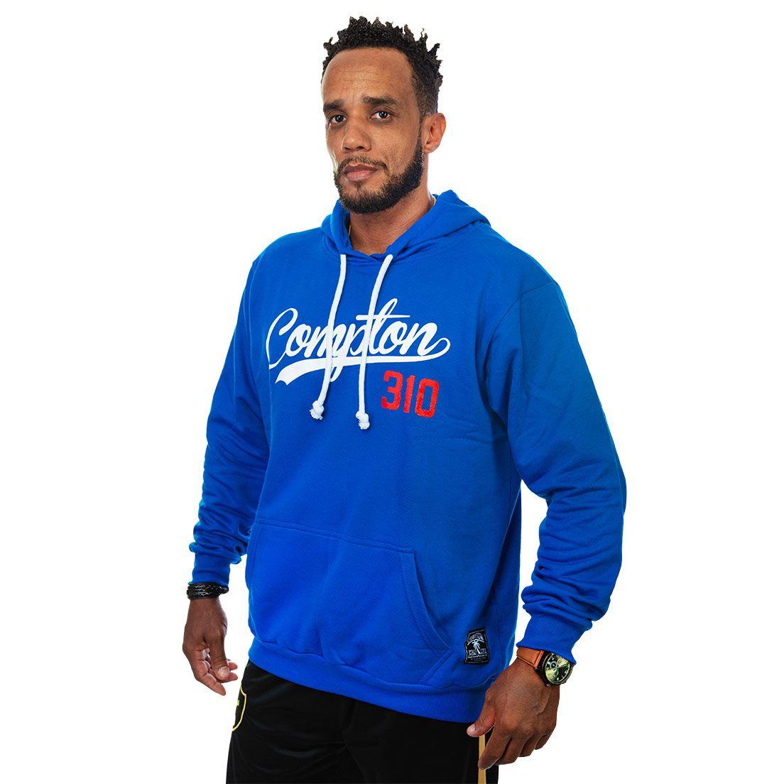 Moletom Compton 310 Canguru Com Capuz Azul