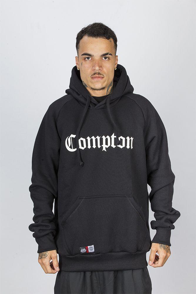 Moletom Canguru Com Gorro Tradicional Preto Compton