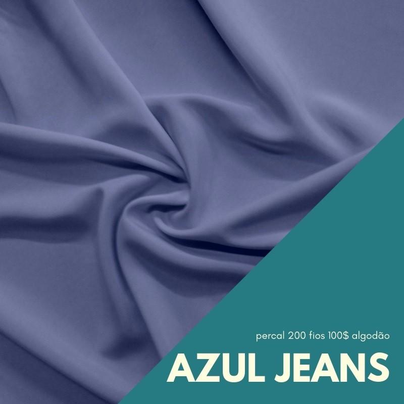 Tecido Percal Cor Azul Jeans - 100% algodão com 2,50m de largura