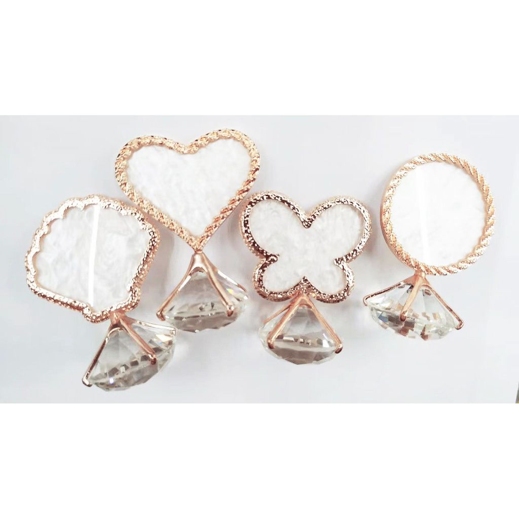 Anel Diamante Placa Decorativo Foto Unhas - Coração Borboleta Concha
