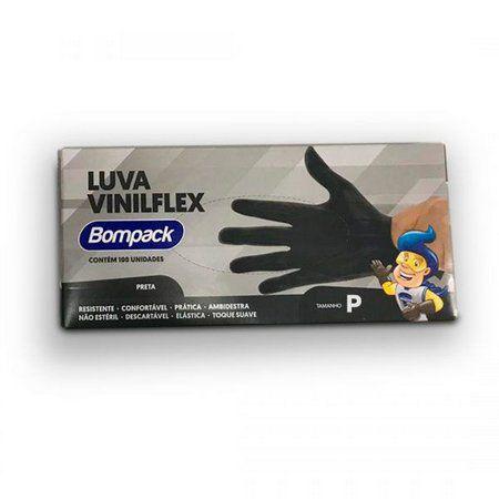 Luvas VINILFLEX Preta -  Bompack (100 unidades)