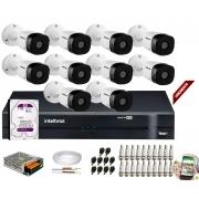 Kit 10 Câmeras de Segurança HD 720p Intelbras VHD 3120B G6 + DVR Intelbras Multi HD C/HD 1TB + Acessórios