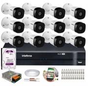 Kit 12 Câmeras de Segurança HD 720p Intelbras VHD 3120 B G5 + DVR Intelbras Multi HD  1TB + Acessórios