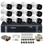 Kit 12 Câmeras de Segurança HD 720p Intelbras VHD 3130 B G5 + DVR Intelbras Multi HD + Acessórios