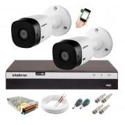 Kit 2 Câmeras de Segurança Full HD 1080p Intelbras VHD 1220B IR + DVR 3104 Full HD 4 Ch + Acessórios