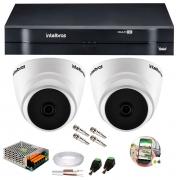 Kit 2 Câmeras de Segurança HD 720p Intelbras VHD 1010D G6 + DVR Multi HD + Acessórios