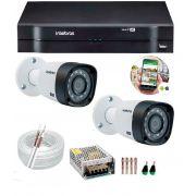 Kit 2 Câmeras de Segurança HD 720p Intelbras VHD 3130 B G5 + DVR Multi HD + Acessórios