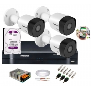 Kit 3 Câmeras de Segurança HD 720p Intelbras VHD 1010 B G6 DVR Multi HD 4 Canais C/ HD-1TB e Acessórios
