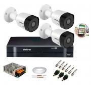 Kit 3 Câmeras de Segurança HD 720p Intelbras VHD 3130 B G6 DVR Multi HD 4 Canais e Acessórios