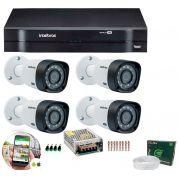 Kit 4 Câmeras de Segurança HD 720p Intelbras VHD 3130 B G5 + DVR Multi HD + Acessórios
