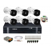 Kit 6 Câmeras de Segurança HD 720p Intelbras VHD 1010B G6 DVR IMulti HD e Acessórios p/ Instalação