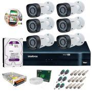 Kit 6 Câmeras de Segurança HD 720p Intelbras VHD1108 B G5 + DVR Multi HD + HD 1TB + Acessórios