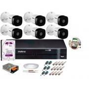 Kit 6 Câmeras de Segurança HD 720p Intelbras VHL 1120B G6 DVR de 8 Canais e HD 1TB