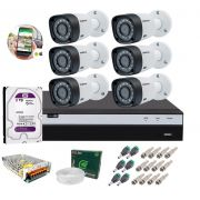 Kit 6 Câmeras de Segurança Intelbras Full HD 1080p VHD 1220B IR + DVR Full HD + HD 2TB + Acessórios