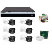 Kit 6 Câmeras de Segurança Intelbras Full HD 1080p VHD 1220B IR + DVR Intelbras Full HD 8 Ch + Acessórios